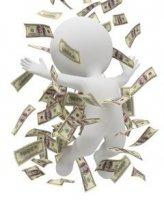 איש עם שטרות כסף מסביבו