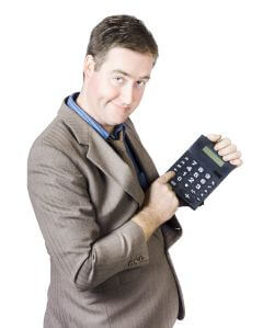 Accounting business man holding calculator