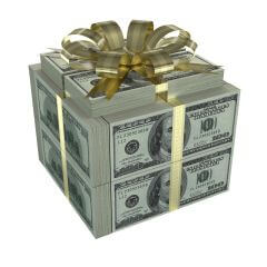 Many dollars in the format of a gift box