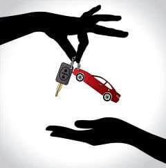 Care Sale or Car Key Concept Illustration : Two hand silhouettes exchanging red colored car with automatic key